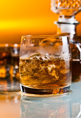 glass with whiskey