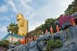 Buddhist monk statues going to Gold Buddha temple, Dambulla, Sri