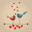 Cute cartoon birds on vector