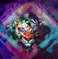 яркий абстрактный  музыкальный фон с тигром