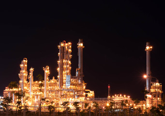 Petrochemical at night sky