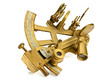canvas print picture - old bronze sextant