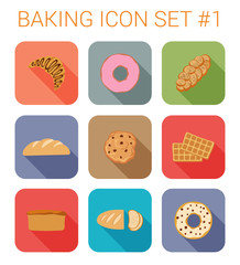 Flat style long shadow bakery vector icon set. Donuts, cookies.