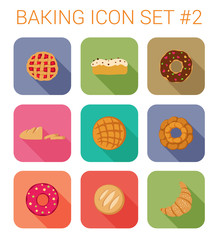 Flat style long shadow pastry vector icon set. Croissant, donuts