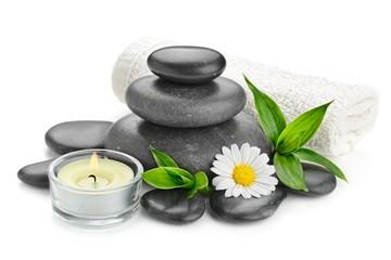 spa still life zen basalt stones and daisy