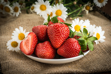 Beautiful strawberries on the  table
