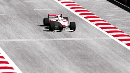 Formula 1 - Indy Race Car on Race Course going across the Finish