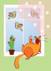 cat lying near the window and sing with the birds