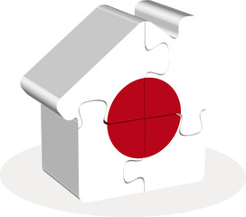 house home icon with Japan flag in puzzle