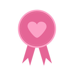 Badge with heart and ribbons. Award icon flat design style.