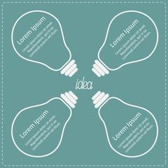 Four big light bulb. Idea concept. Business infographic.
