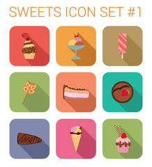 Flat style long shadow sweet vector icon set. Cake, ice cream.