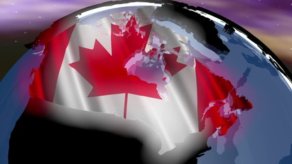 Canada Earth Zoom In 3D animation with Matte