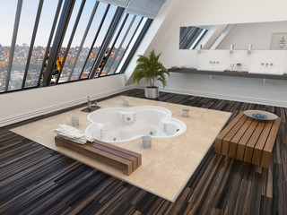 Modern bathroom interior with a sunken spa bath