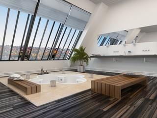 Modern bathroom interior with a sunken spa bath