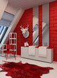 Striking red and white bathroom interior