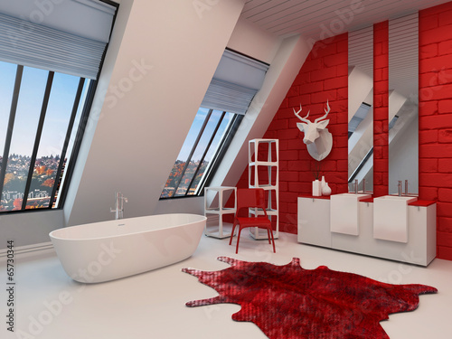 Dramatic spacious red and white bathroom interior