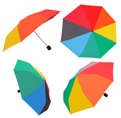 set of open multicolored umbrellas
