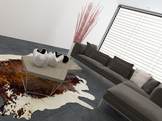Living room interior with a cow hide on the floor