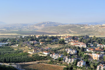 Metula village landscape near Lebanon border.