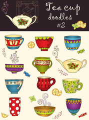 Vector set of doodle tea cup. Series of doodles.