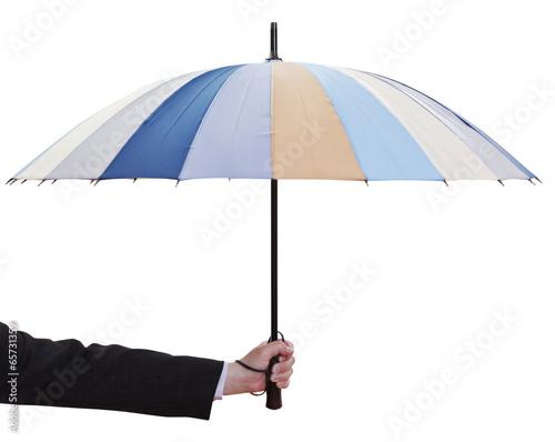 male hand hold open multicolored umbrella - 65731359