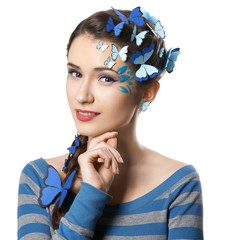girl with art make-up blue butterflies