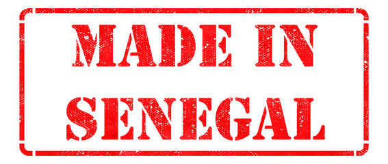 Made in Senegal - inscription on Red Rubber Stamp.