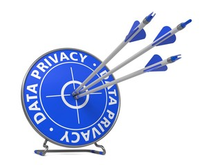 Data Privacy Concept. Three Arrows Hit in Blue Target.