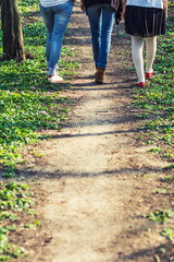 Three women having a walk