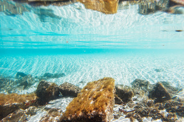 Underwater backdrop with white sand and rocks