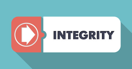 Integrity on Blue in Flat Design.