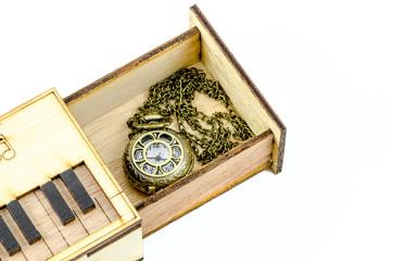 Clock Locket Necklace in wooden box