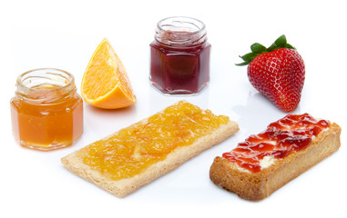 Strawberry, orange, jam and toasts