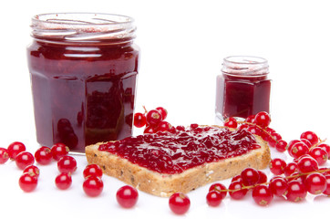Toast with redcurrant  jam and fresh redcurrants