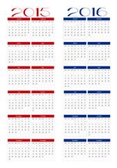 Calendar 2015 and 2016