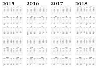 Calendar 2015 to 2018