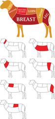 Lamb cuts diagram, UK