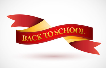 back to school red and gold ribbon illustration