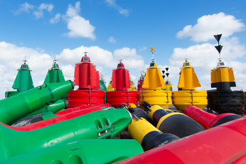Buoys at dry