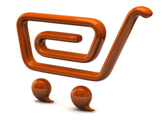 Orange shopping cart icon on white background