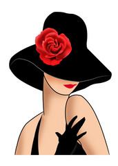 дама в шляпе с красной розой