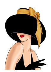дама в шляпе с желтым бантом