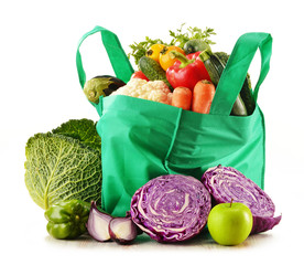 Shopping bag with variety of fresh organic vegetables