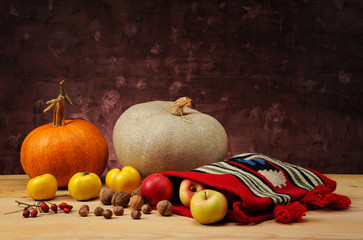 Pumpkin and ethnic bag of wool with fruits