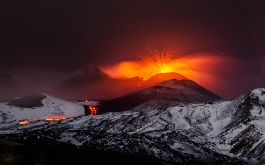Eruption volcano Etna lava flow