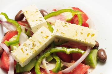Greek salad, in closeup.