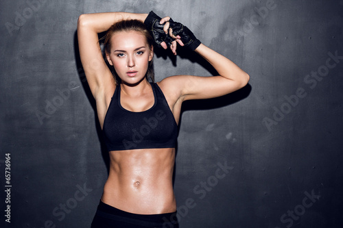 Poster Gymnastiek young fitness woman