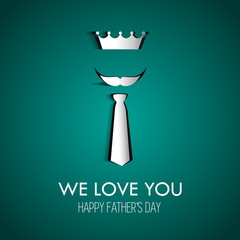 Happy Fathers day card with type font, crown, tie and mustage, g