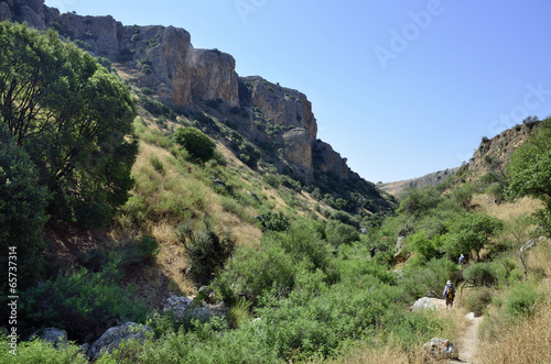 Tuinposter Canyon Hiking trail in Nahal Amud national park.
